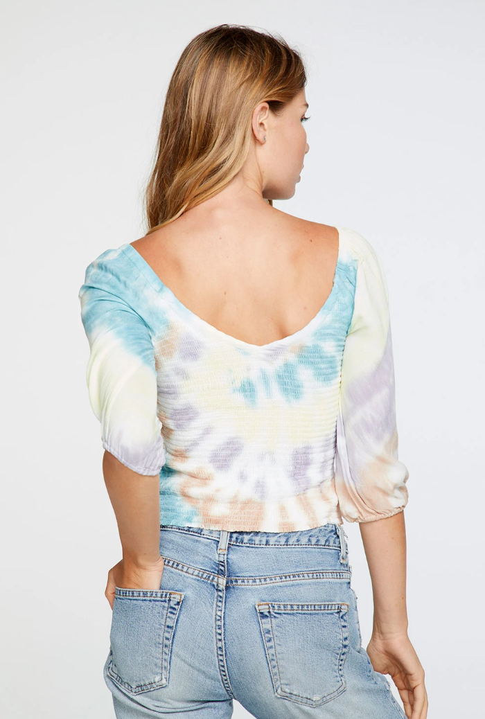 Heirloom Tie Dye Smocked Peasant Top