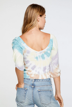 Load image into Gallery viewer, Heirloom Tie Dye Smocked Peasant Top
