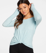 Load image into Gallery viewer, Rib Knot Front Long Sleeve Tee