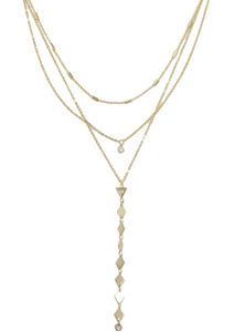 Bella Multi Layered Lariat Necklace with Crystals