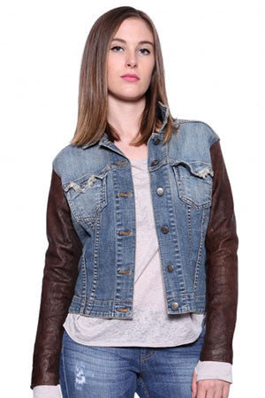 Jean Jacket With Leather Chocolate