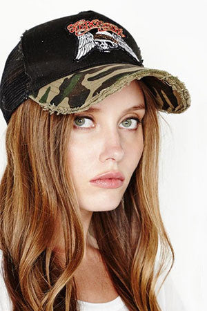 Lauren Moshi Black/Camo Aerosmith Trucker Hat