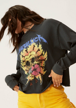 Load image into Gallery viewer, Metallica Flaming Skull Oversized Crop Tee