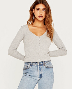 Pearl Button Cardigan Top