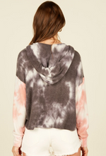 Load image into Gallery viewer, Tie Dye Colorblock Hacci Hoodie