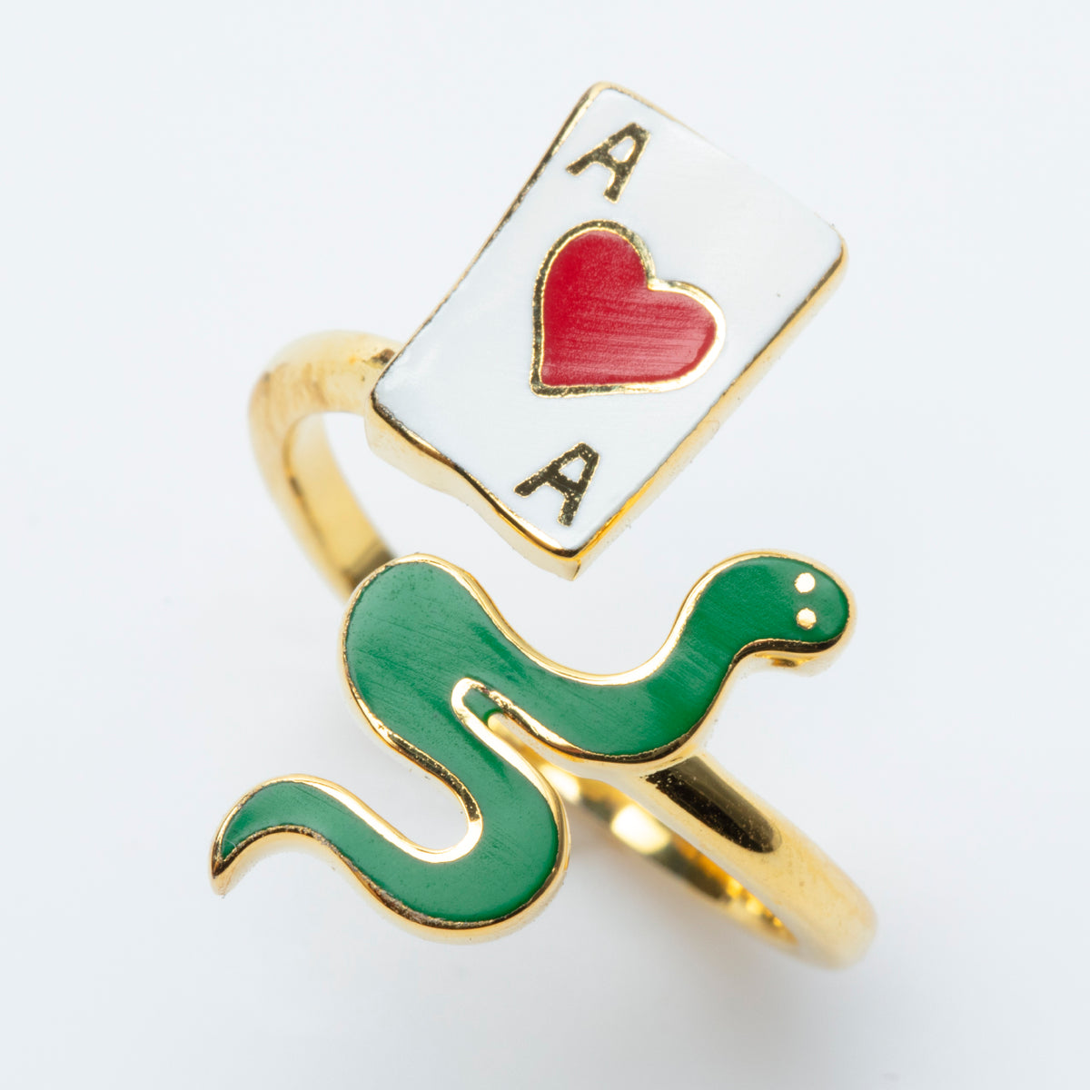 Ace of Hearts & Snake Ring