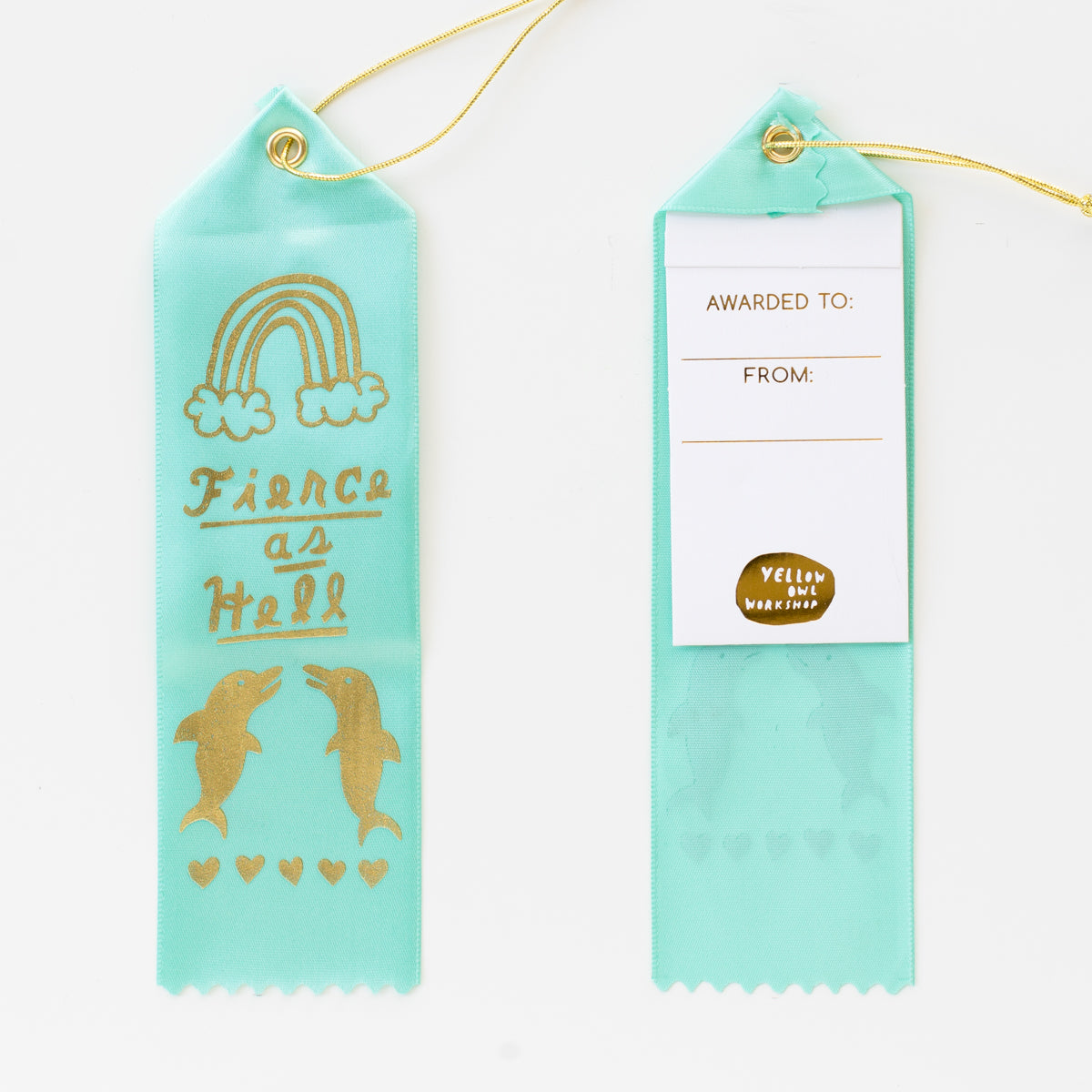 Luxe teal satin award ribbon card - fierce as hell