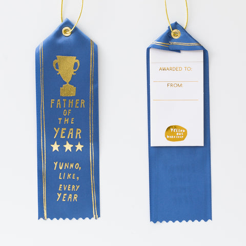 Blue satin award ribbon card for Father's Day