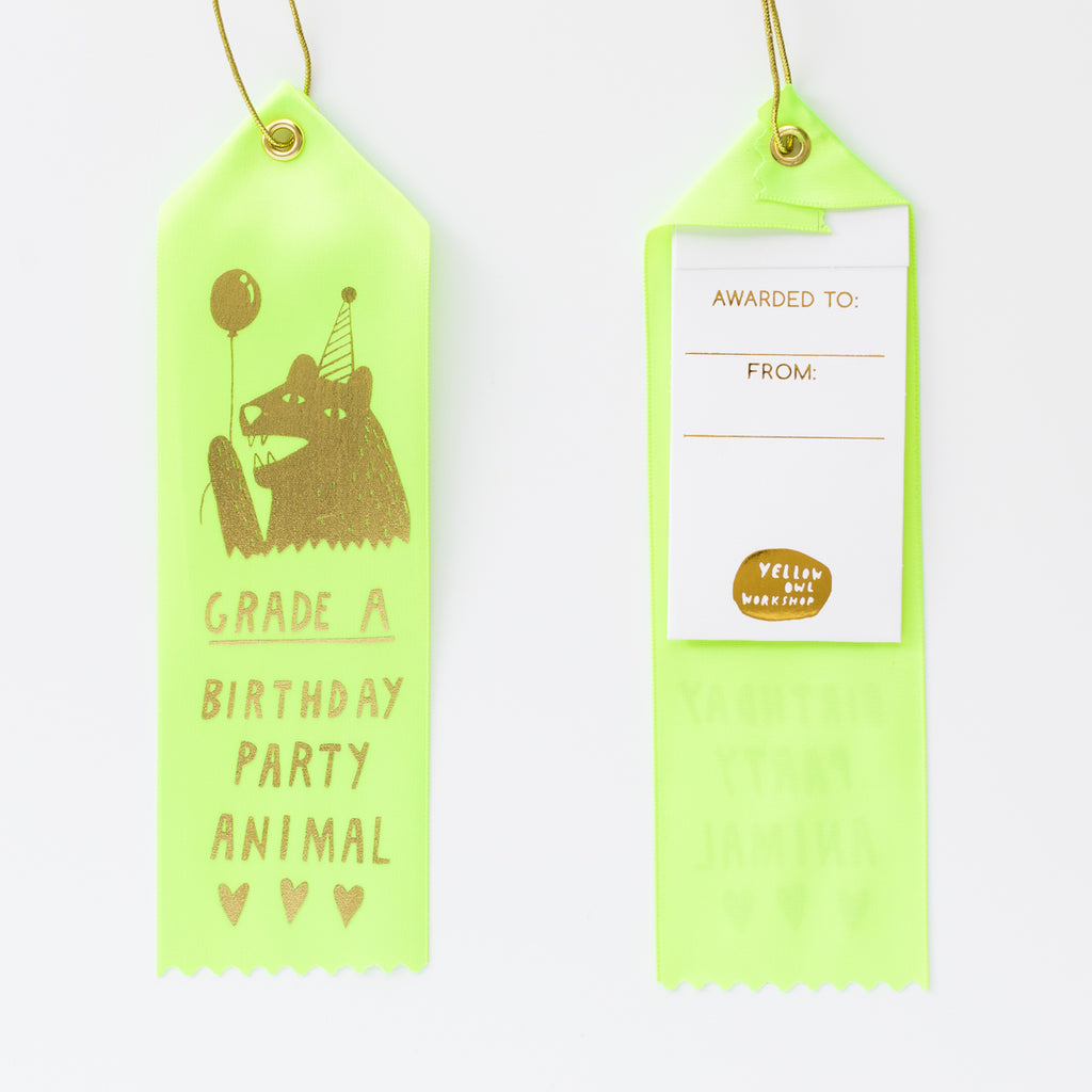 Neon yellow satin award ribbon card, birthday card, party animal
