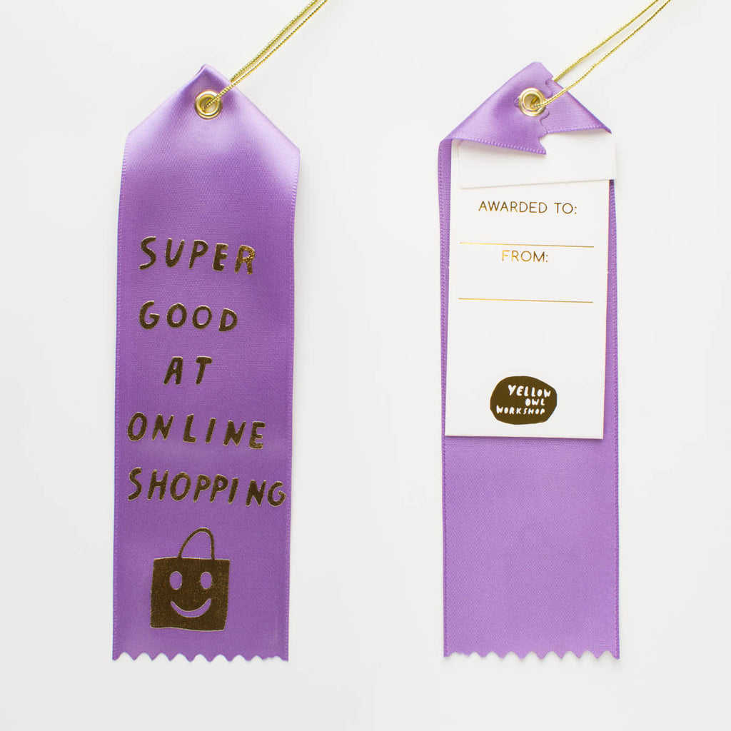 Super Good At Online Shopping - Award Ribbon Card