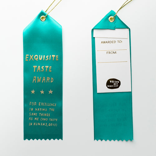 Exquisite Taste Award - Award Ribbon Card