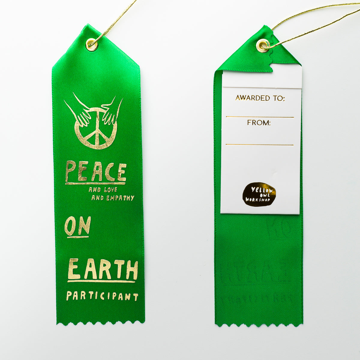Peace On Earth Participant - Award Ribbon Card