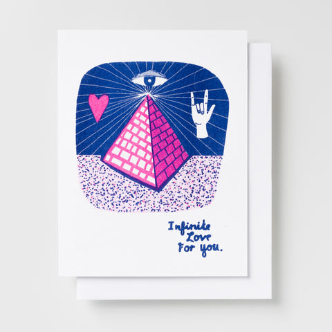 Infinite Love for You handprinted risograph greeting card