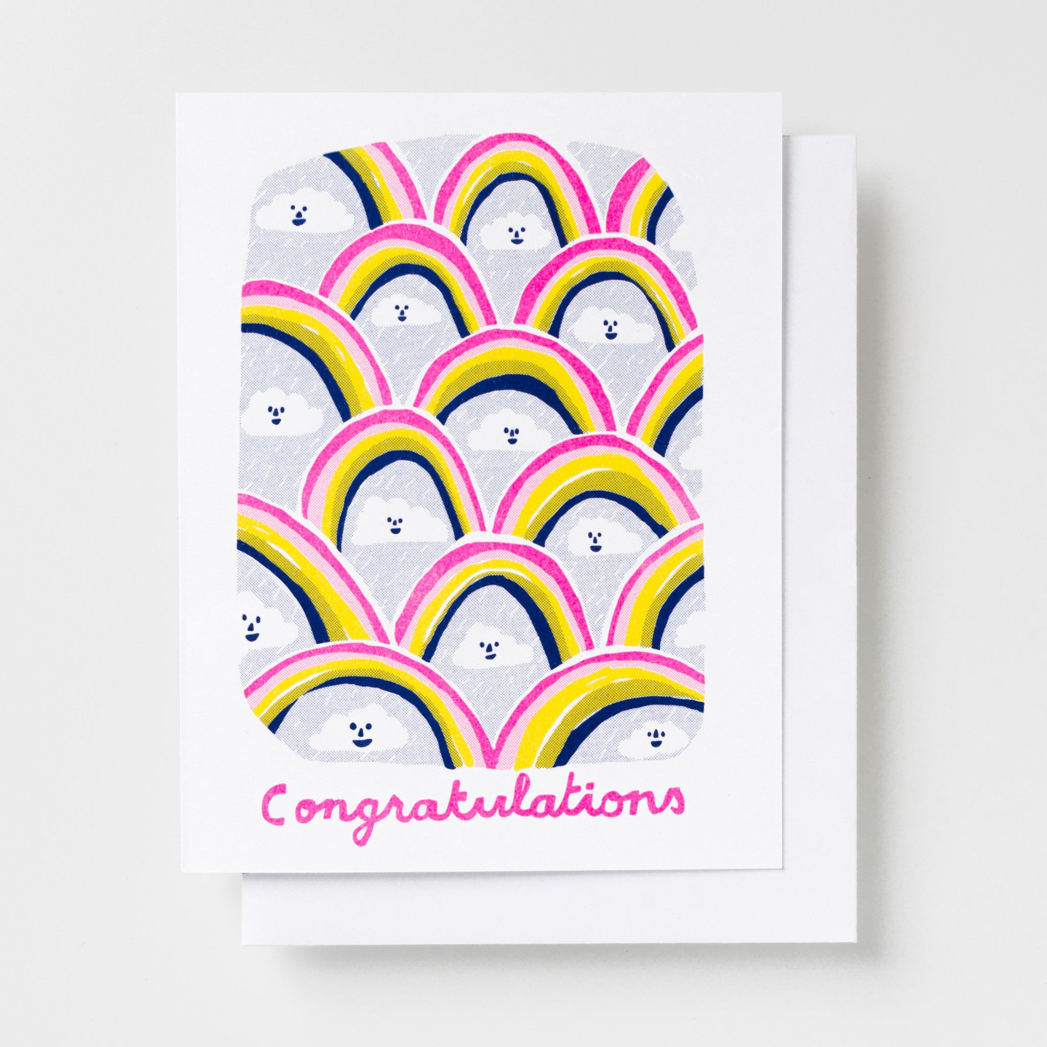 Congratulations greeting card, risograph greeting card featuring an illustration of rainbows and rain clouds
