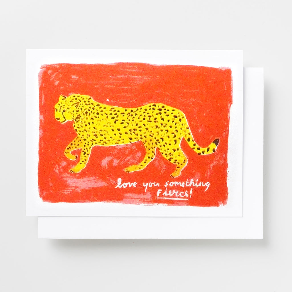 "Handprinted risograph love greeting card featuring a cheetah and the text ""Love you something fierce!"""