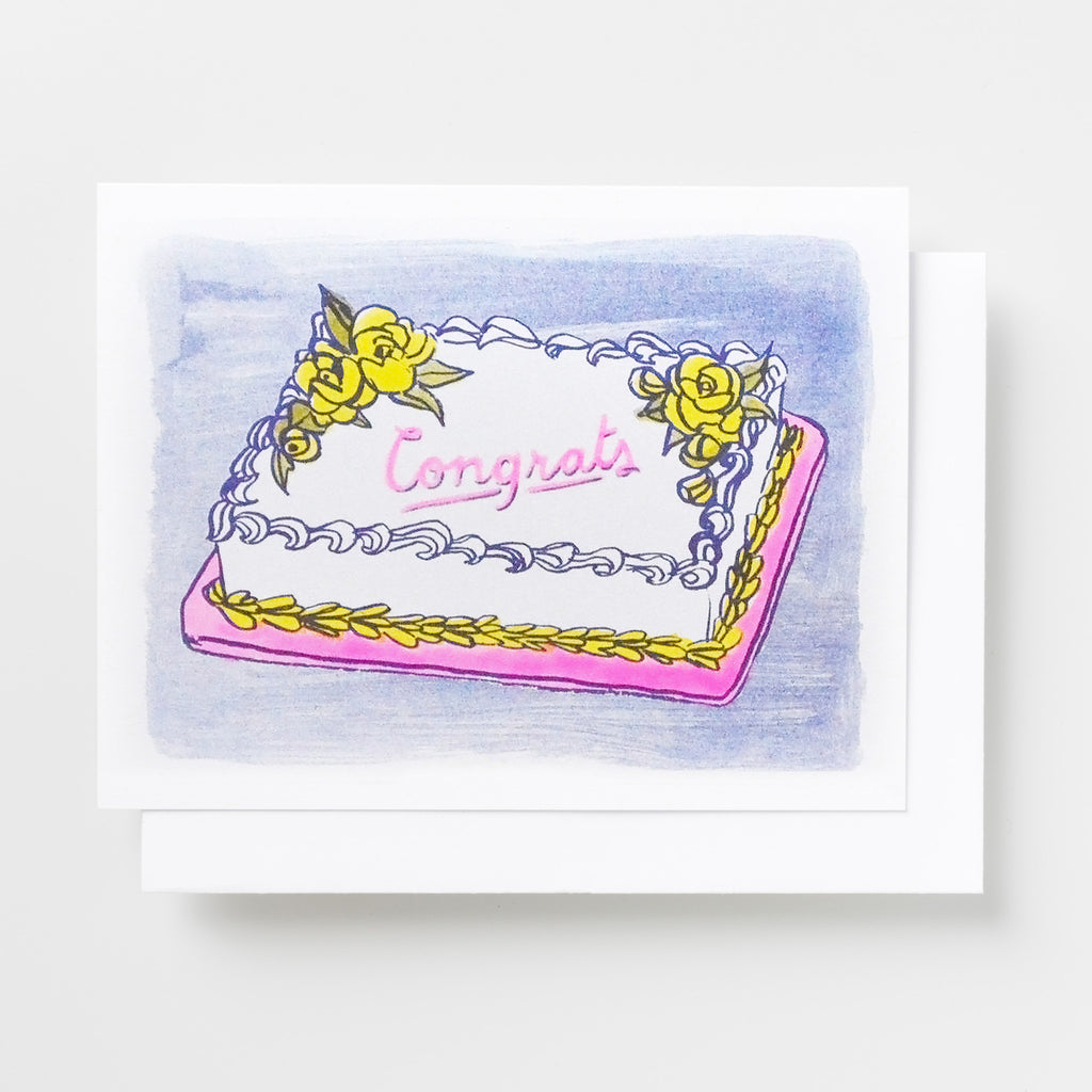 Risograph printed greeting card featuring a sheetcake and Congrats