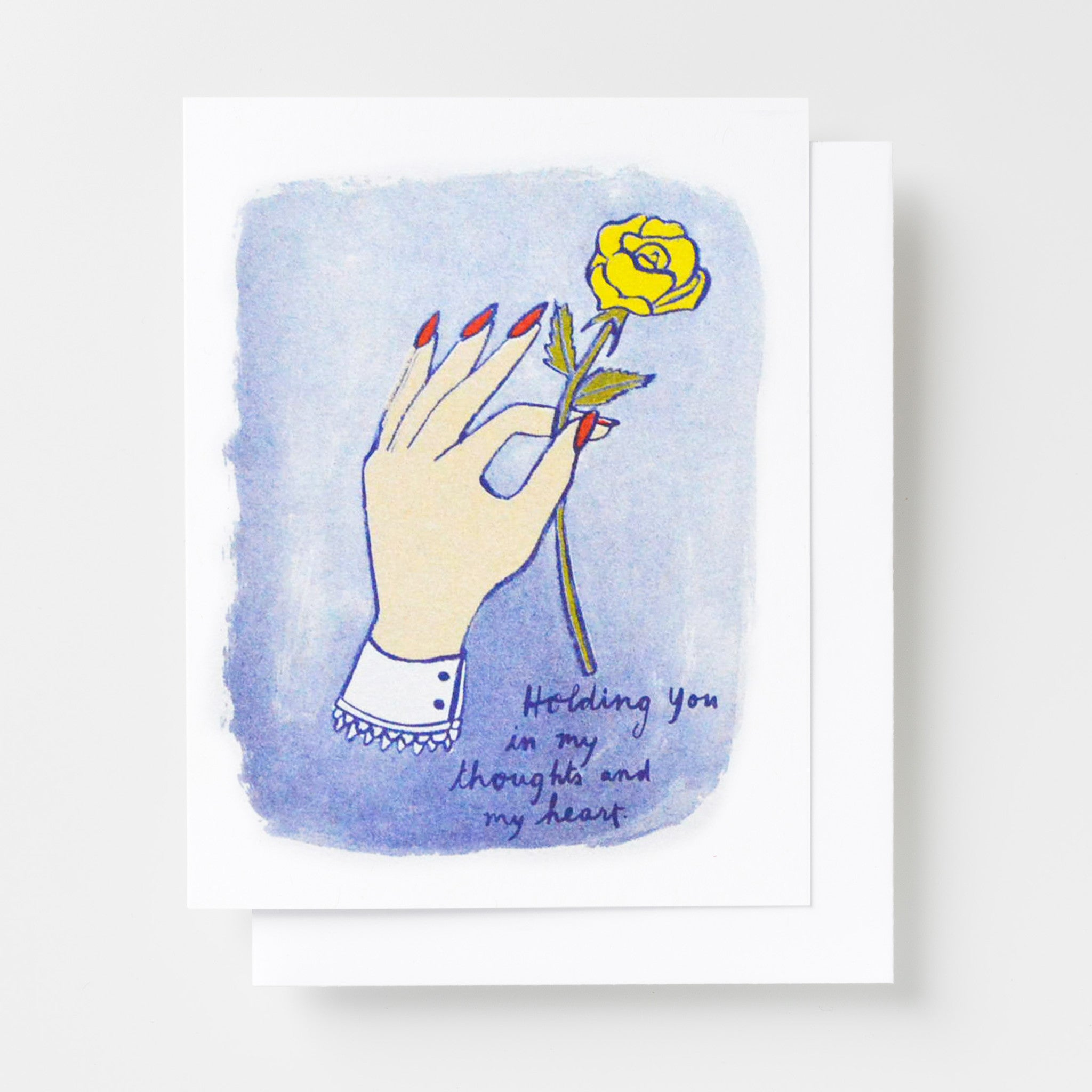 Holding you in my thoughts risograph sympathy card featuring a hand holding a yellow rose