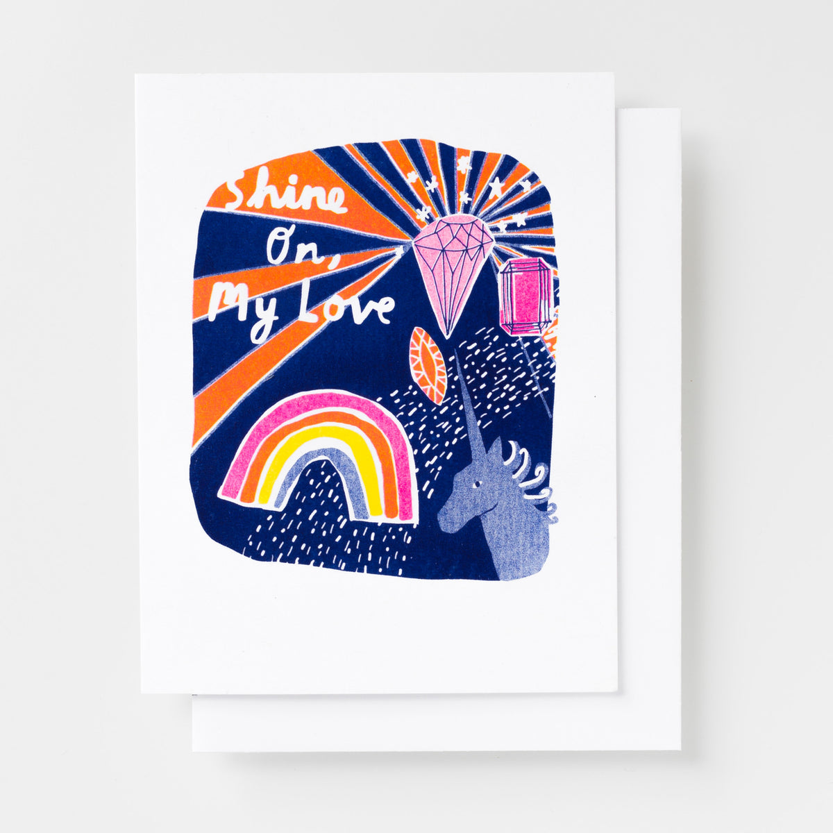 Risograph greeting card - Shine on, my love - love card, everyday card, handprinted greeting card