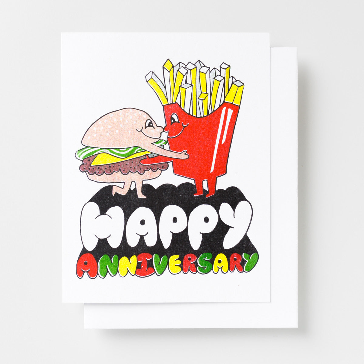 Happy Anniversary risograph greeting card featuring a hamburger and french fry hug