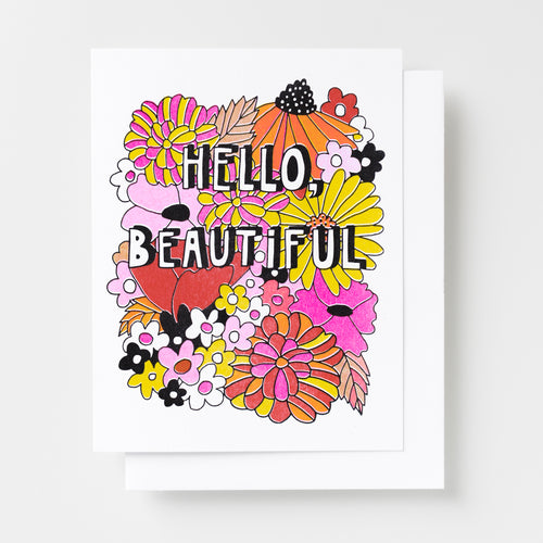 Hello Beautiful handprinted risograph greeting card with 1970s inspired florals