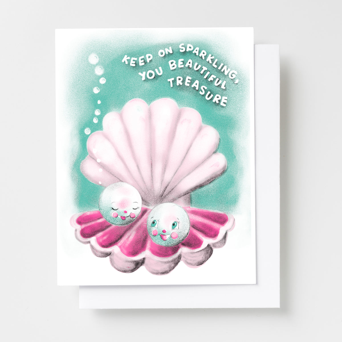 Keep On Sparkling, Treasure - Shell Risograph Card