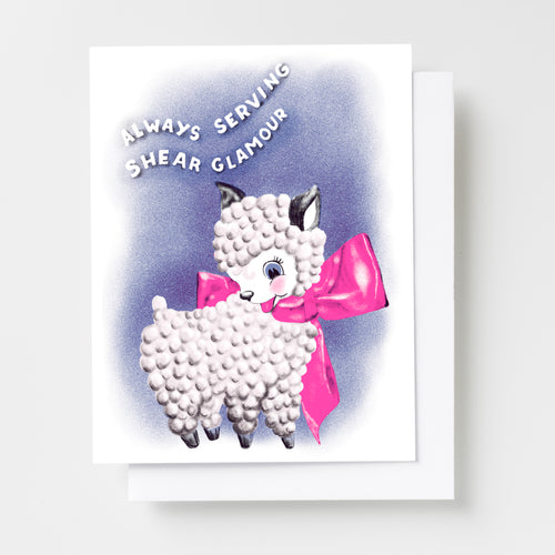 Always Serving Shear Glamour - Fierce Lamb Love Risograph Card
