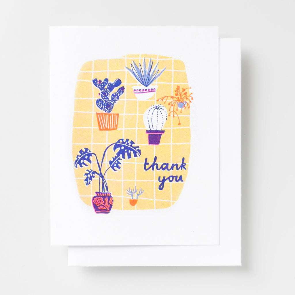 Risograph thank you greeting card - potted plants