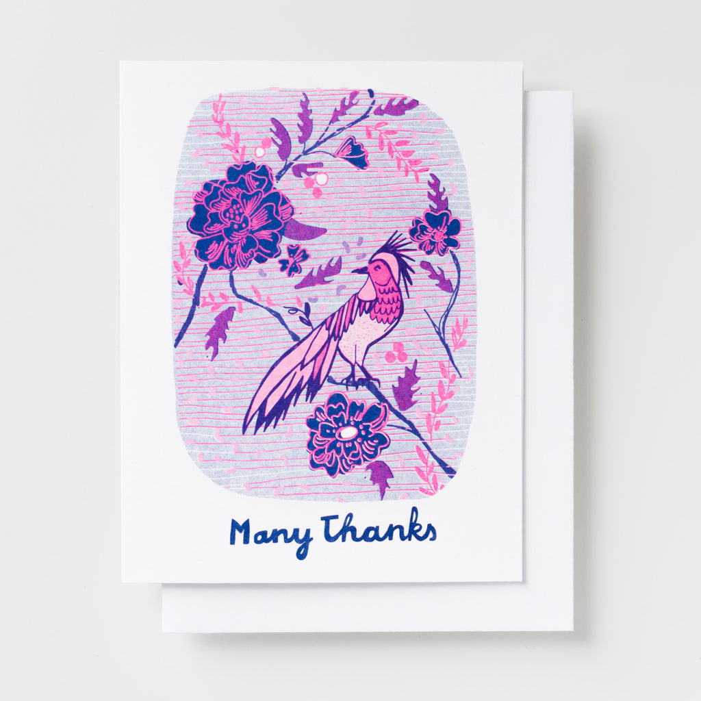 Risograph Thank You greeting card - bird with flowers