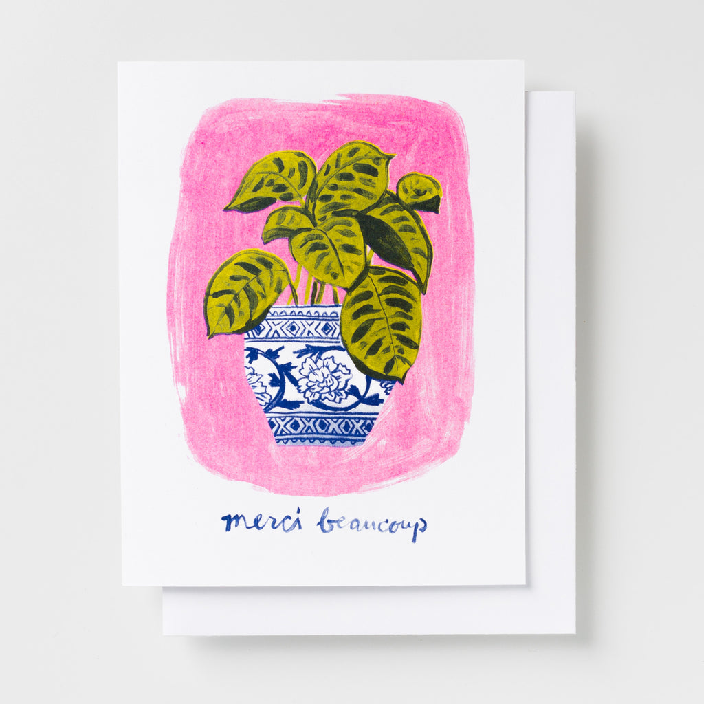 Risograph thank you greeting card - Merci Beaucoup potted plant