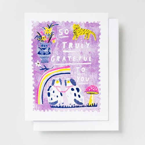 So Truly Grateful to You - Risograph Card