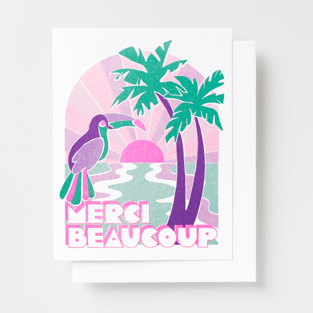 Tropical Merci Beaucoup - Risograph Card
