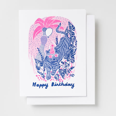 Tiger Birthday - Risograph Card