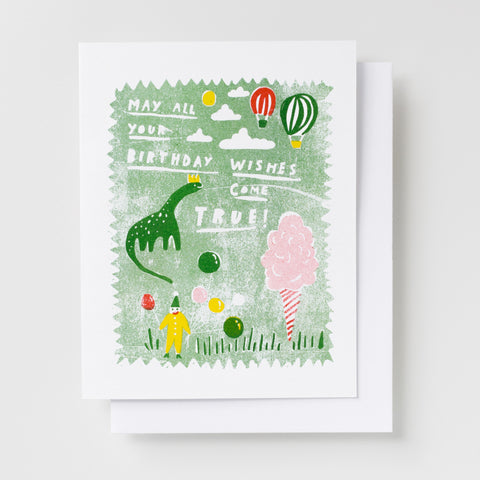 Greeting cards for kids - May all your birthday wishes come true - risograph greeting card