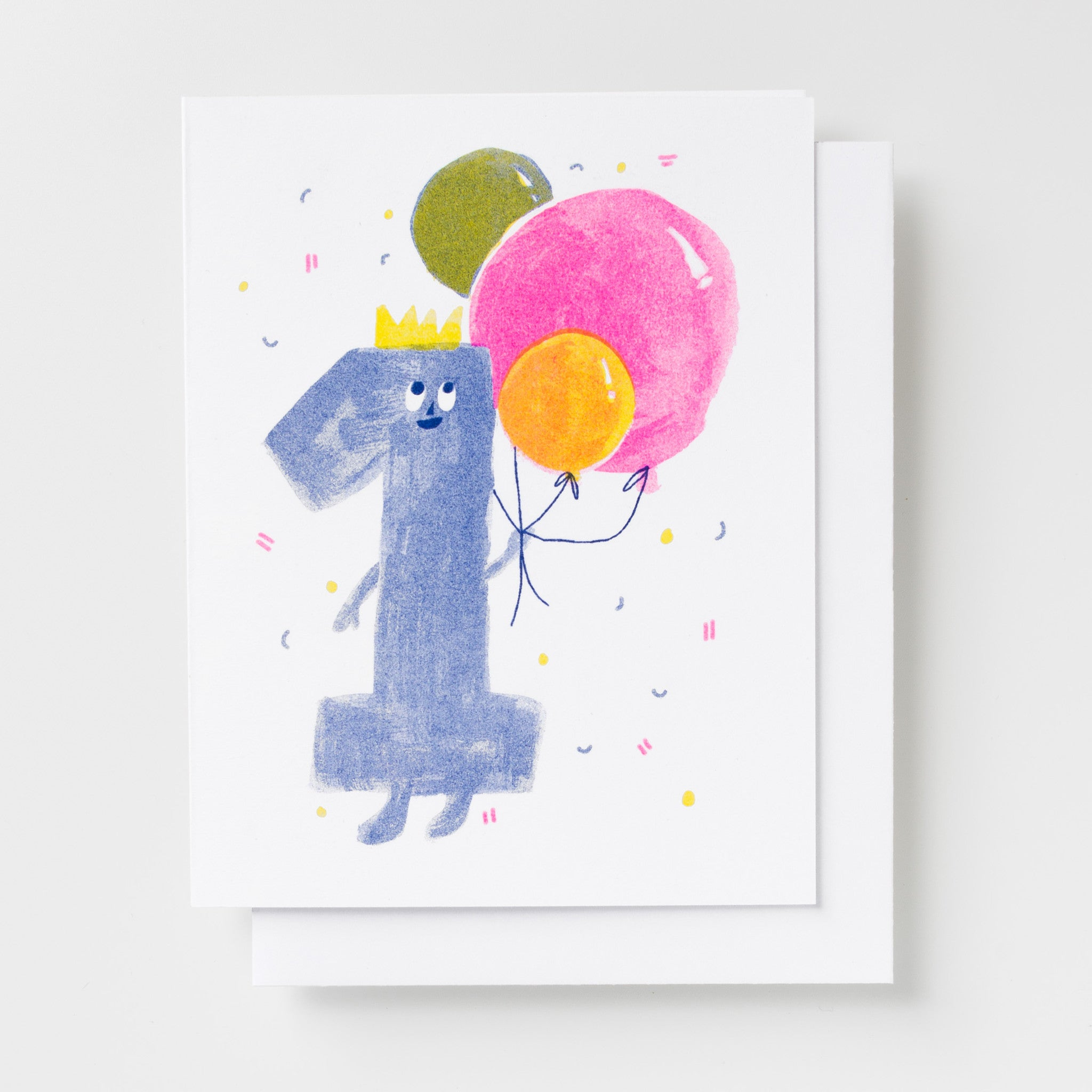 1 Year Old Birthday Card with Colorful Balloons