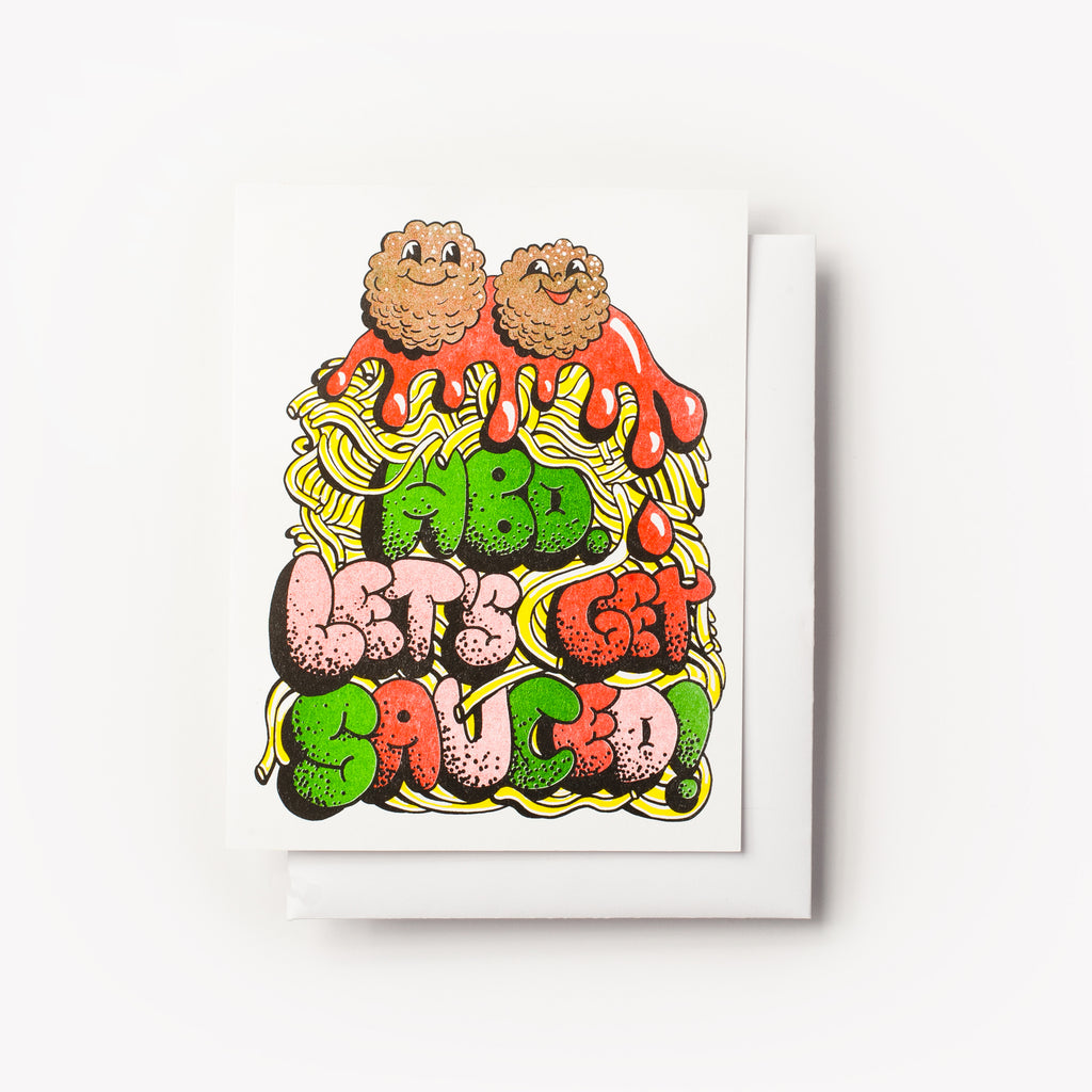 "Happy Birthday ""Let's Get Sauced"" Spaghetti and meatballs risograph greeting card"