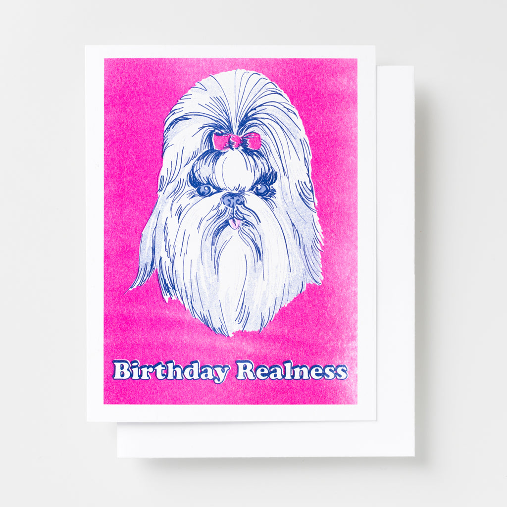 "Fancy dog with hair bow with ""Birthday Realness"" greeting card"