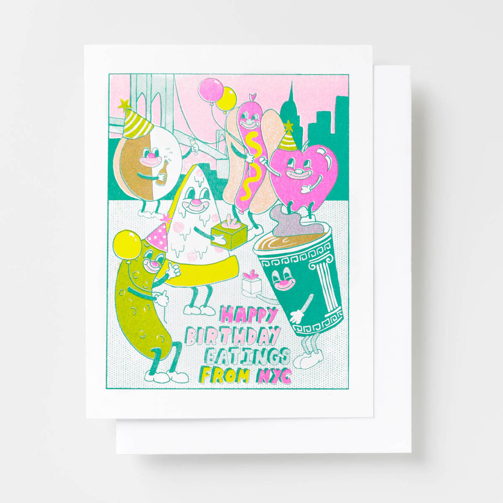 NYC Birthday Eatings - Risograph Card