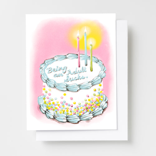 Being an Adult Sucks Birthday - Risograph Card