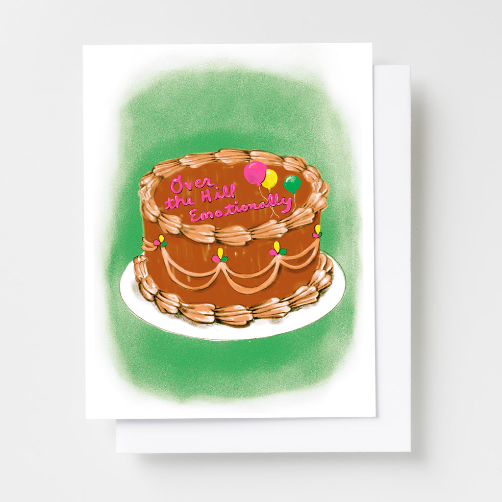 Birthday Over the Hill Emotionally - Risograph Card