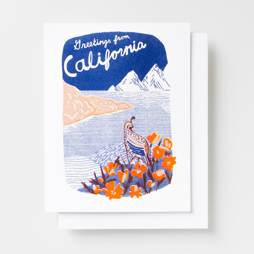Risograph greeting card - Greetings From California