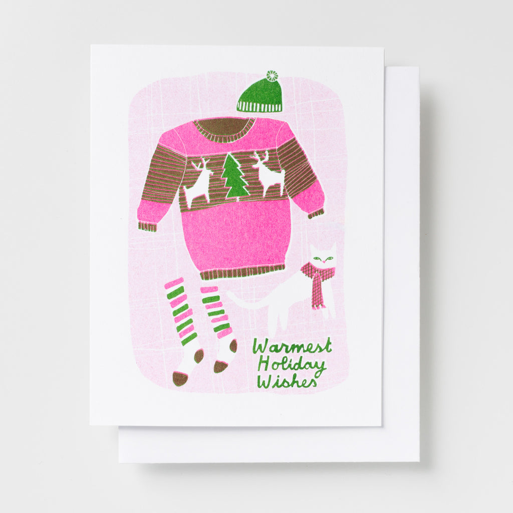 Warmest Holiday Wishes - Risograph Card