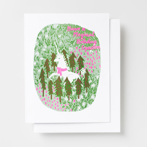 Magical Holiday Unicorn risograph greeting card, holiday greeting card