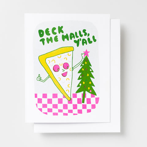 Deck the Halls Pizza - Risograph Card