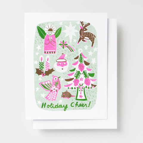 Risograph holiday greeting card with Christmas tree, angel, candles, Santa Clause and holiday armadillo