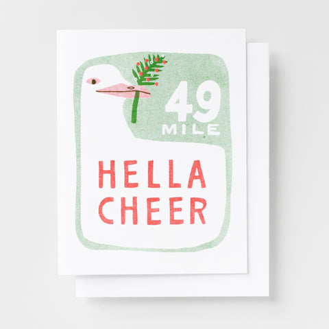 Hella Cheer risograph holiday greeting card, 49 mile San Francisco