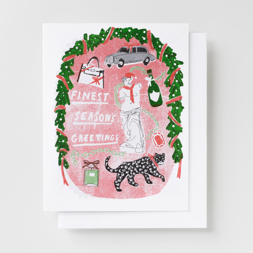 risograph greeting card - finest season's greetings