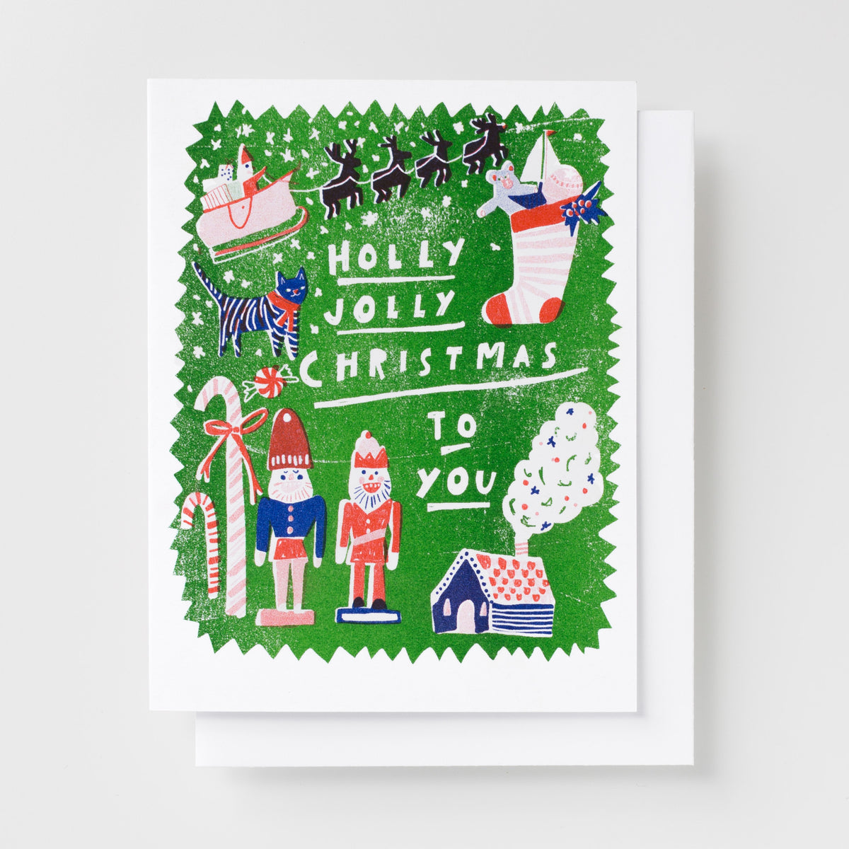 Holly Jolly Christmas.Holly Jolly Christmas Risograph Card