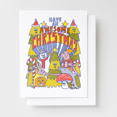 """Have an Awesome Christmas"" Risograph greeting card"