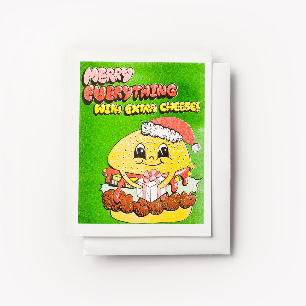 Merry Everything with Cheese Holiday greeting card with hamburger - risograph greeting card