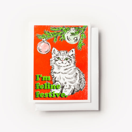 Risograph greeting card - Christmas greeting card - Cat